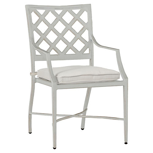 Lattice Armchair, French Linen