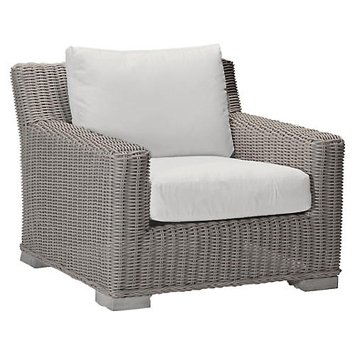 Rustic Oyster Club Chair, White