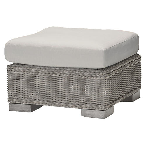 Rustic Oyster Ottoman, White
