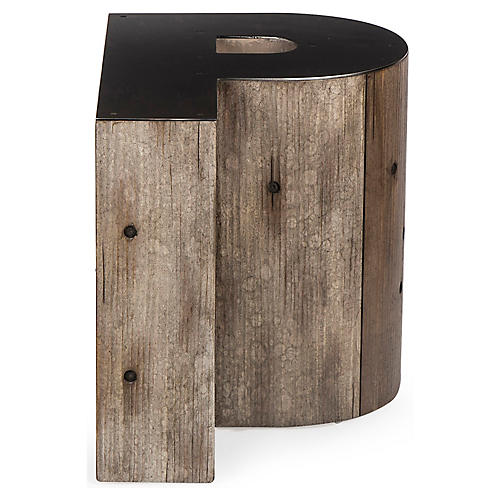 Alphabet P Side Table, Gunmetal