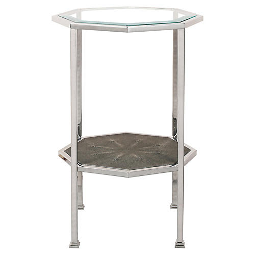 Octagonal Side Table, Faux Shagreen