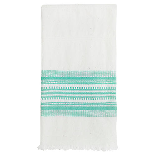 Stripe Tea Towel, White/Mint