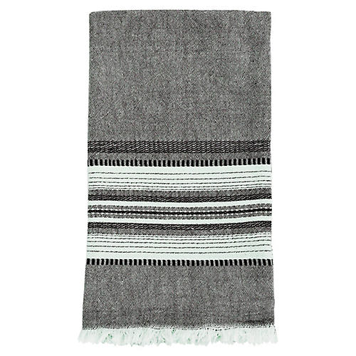 Stripe Tea Towel, Gray/Cream