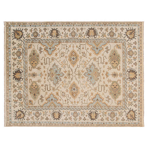 "9'x11'6"" Oushak Rug, Tan/Multi"