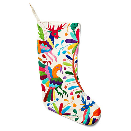 Navidad Embroidered Stocking, White/Multi