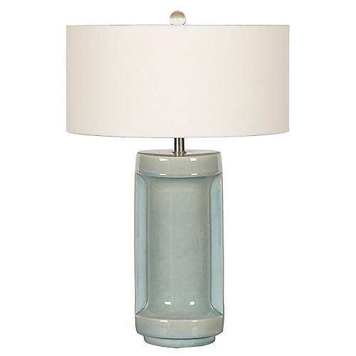 Ming Ceramic Table Lamp, Crackle Blue