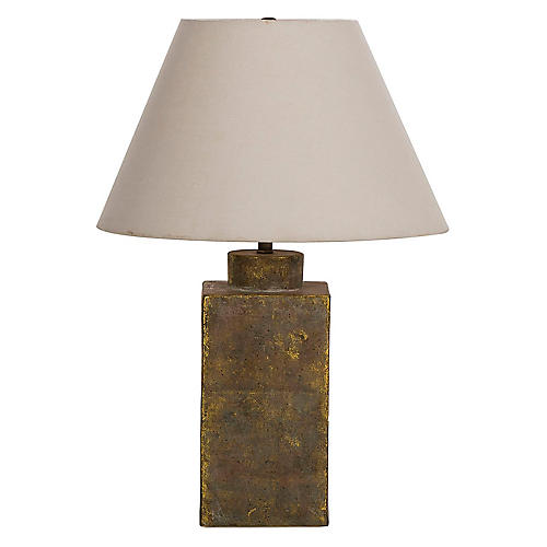 Caddy Ceramic Table Lamp, Textured Gold