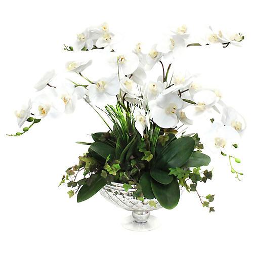 "25"" White Orchid w/ Pedestal Bowl, Faux"
