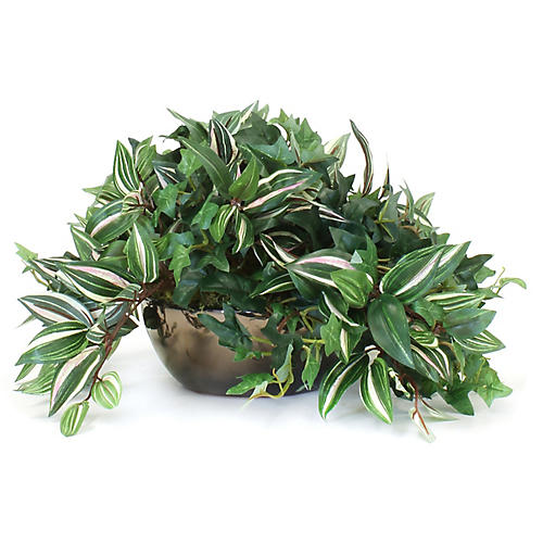 "13"" Mixed Greenery w/ Bronze Bowl, Faux"