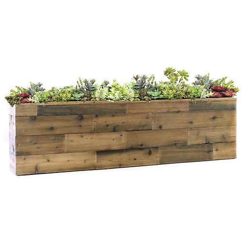 """60"""" Succulents w/ Reclaimed Planter, Faux"""