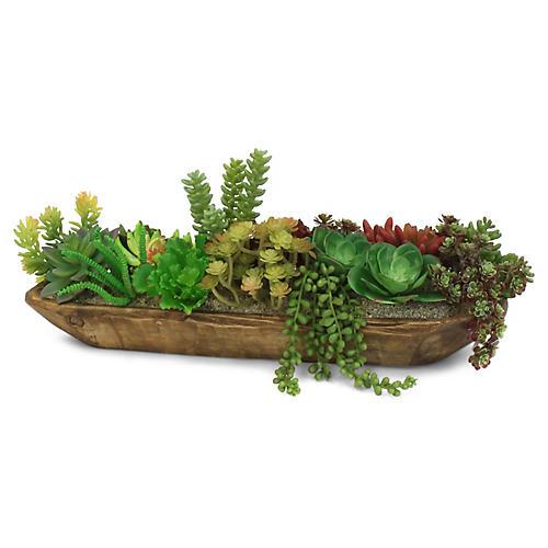 """22"""" Succulent w/ Boat Planter, Faux"""