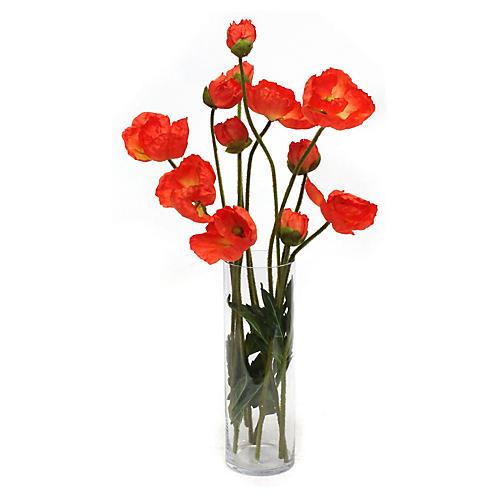 "21"" Orange Poppy Arrangement w/ Vase, Faux"