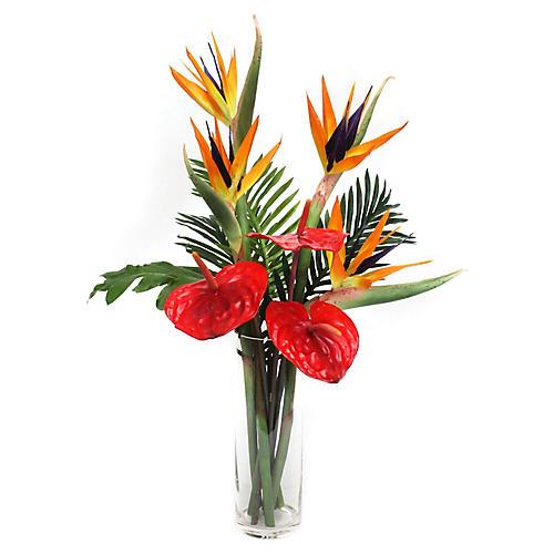 """30"""" Mixed Tropical Arrangement w/ Vase, Faux"""