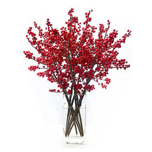 """23"""" Holiday Berry Arrangement w/ Vase, Faux"""