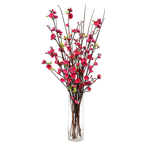 "34"" Cerise Blossom Arrangement w/ Tall Vase, Faux"