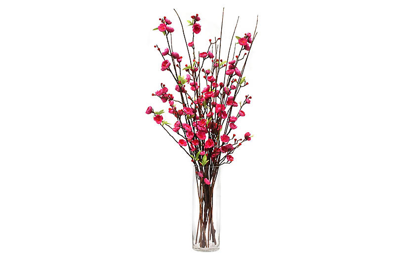 34 Cerise Blossom Arrangement W Tall Vase Faux One Kings Lane