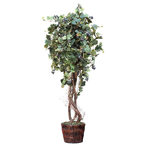 "62"" Grape Tree w/ Basket Planter, Faux"