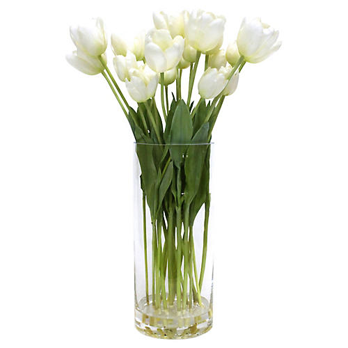 "23"" White Tulip Arrangement w/ Tall Vase, Faux"