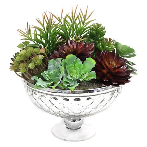 """12"""" Succulents w/ Glass Bowl, Faux"""