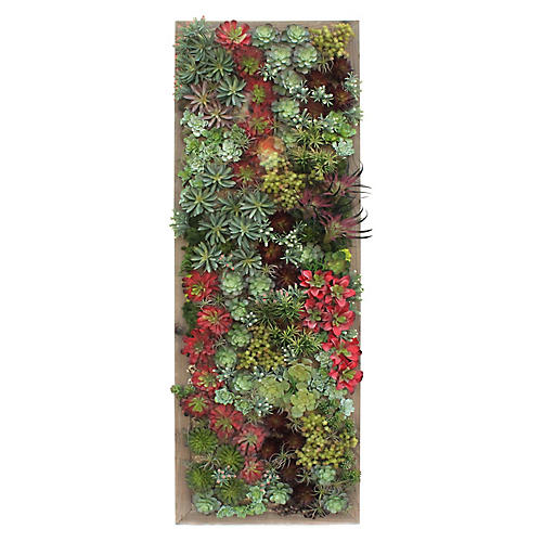 """90"""" Mixed Succulents Tall Wall Piece, Faux"""