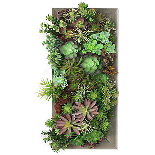 Mixed Succulents Wall Piece, Faux