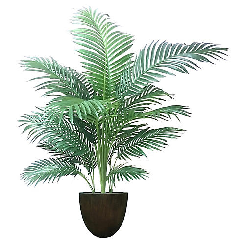 "54"" Palm Tree w/ Bell Planter, Faux"