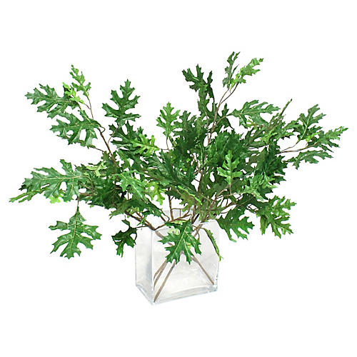 "20"" Mixed Leaves w/ Clear Vase, Faux"