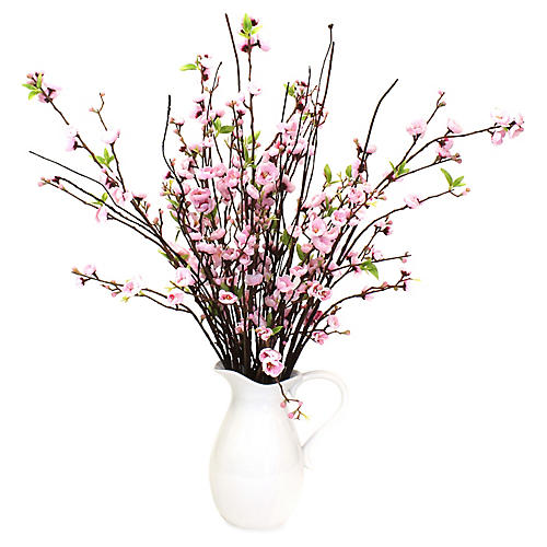 "35"" Pale Pink Blossom Arrangement w/ Pitcher, Faux"