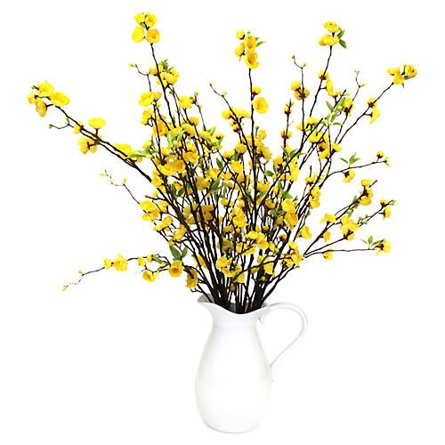 "35"" Yellow Blossom Arrangement w/ Pitcher, Faux"