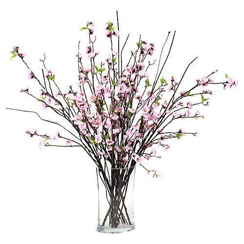 "35"" Pink Blossom Arrangement w/ Oval Vase, Faux"