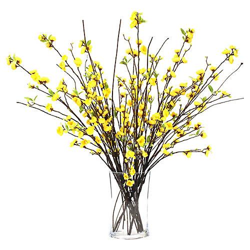 "35"" Yellow Blossom Arrangement w/ Oval Vase, Faux"