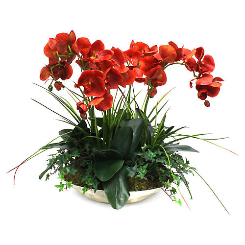 "24"" Orchids & Greenery Arrangement w/ Vase, Faux"