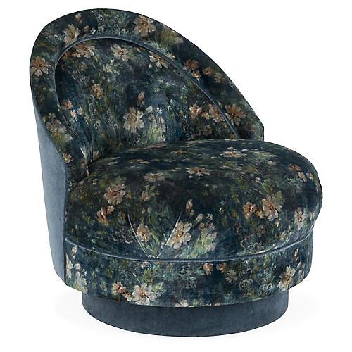 Iris Swivel Club Chair, Jade Velvet