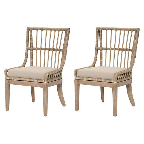 S/2 Rio Side Chairs, Stone