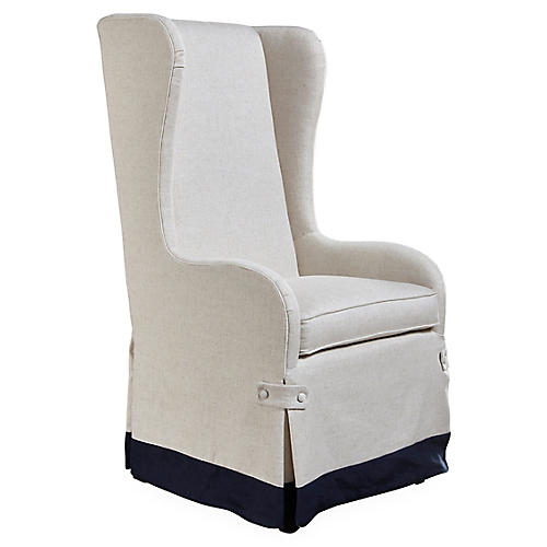 Fisher Wingback Chair, Natural/Navy