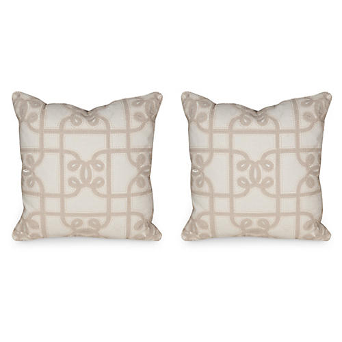 S/2 Carlyle Pillows, Beige