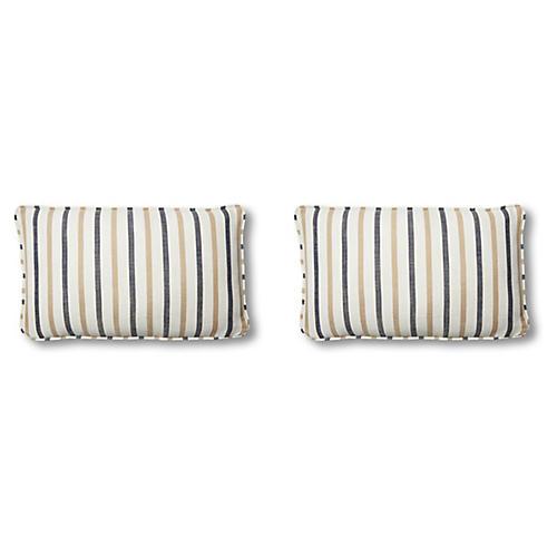 S/2 Newton Lumbar Pillows, Cream/Navy