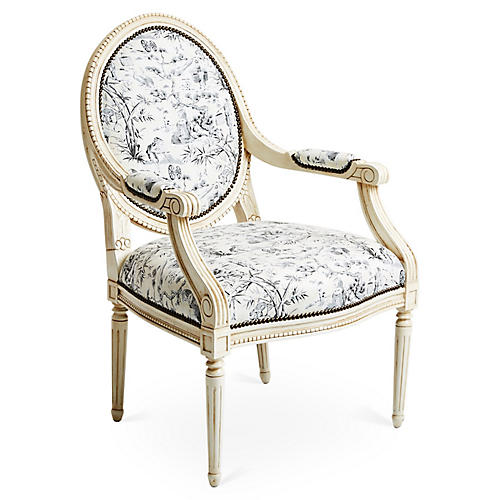 Darcy Armchair, Black Toile