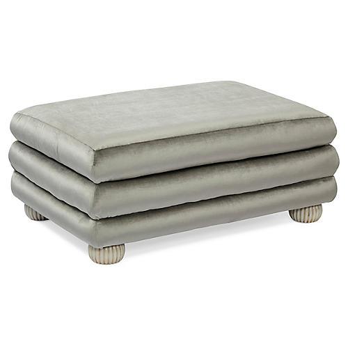 Millbrae Ottoman, Silver-Gray Velvet