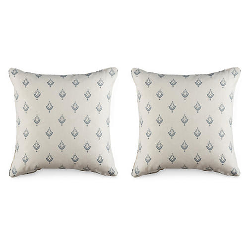 S/2 Ponderosa Pillows, White/Gray