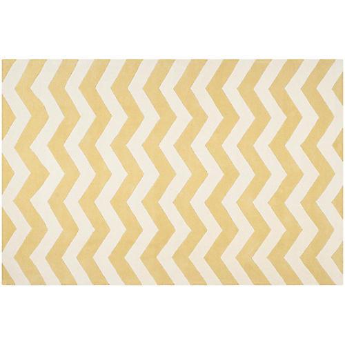 3'x5' Courtney Rug, Light Gold/Ivory