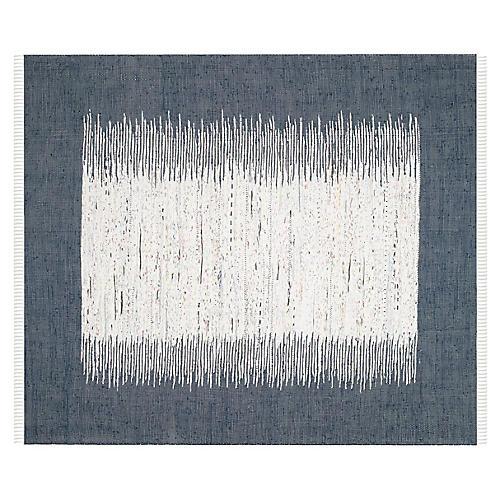 4'x6' Susie Flat-Weave Dhurrie, Navy/Ivory
