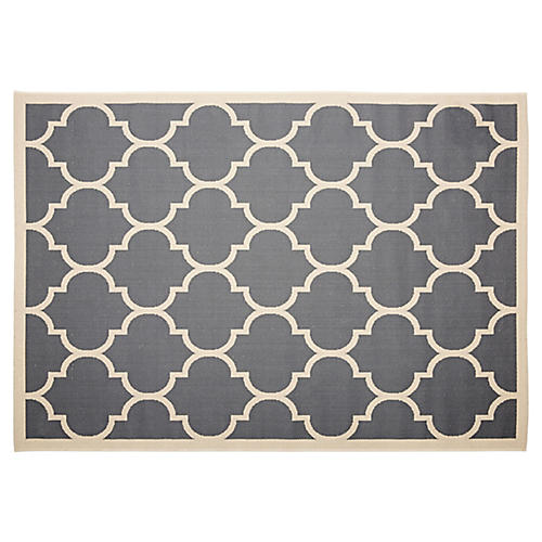 "4'x5'7"" Basil Outdoor Rug, Charcoal"
