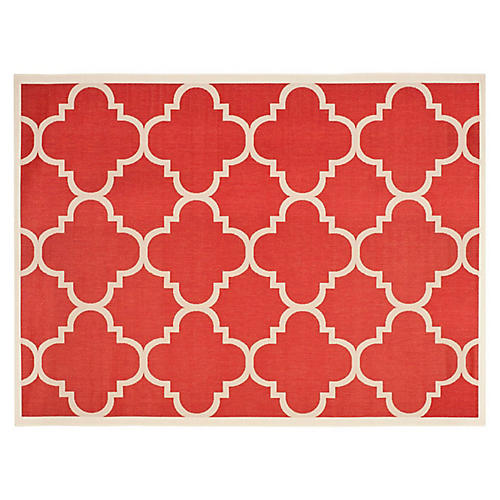 "2'3""x8' Teresa Outdoor Rug, Red/Ivory"