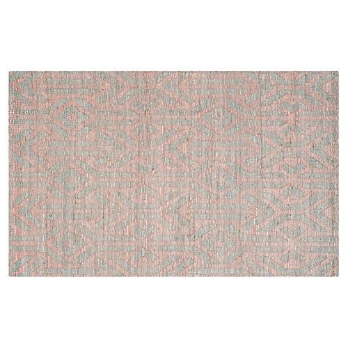 3'x5' Global Flat-Weave Rug, Blue/Rust