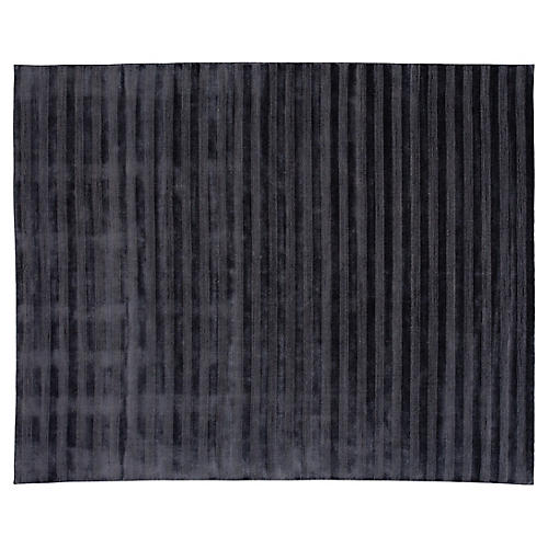 8'x10' Modern Striped Hand-Knotted Rug, Black