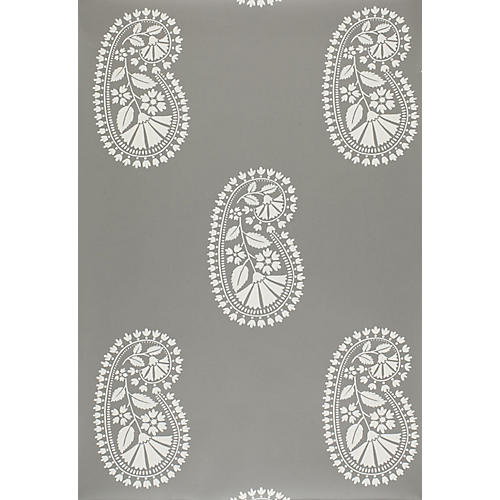 Indore Paisley Wallpaper, Charcoal
