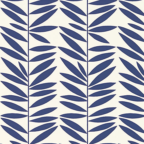 Leaf Stripe Wallpaper, Marine