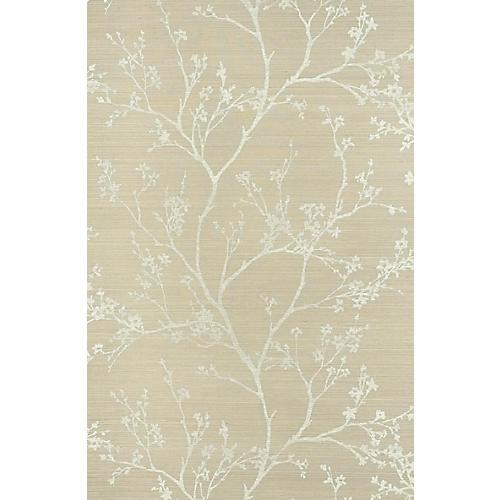 Twiggy Sisal Wallpaper, Fog