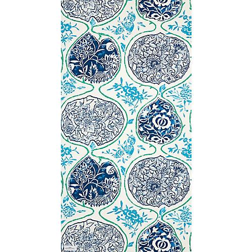 Katsugi Wallpaper, Cobalt/Turquoise